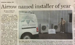 Airrow Heating & Sheet Metal is Voted 2014 Contractor of the Year in South Beach, OR.