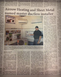 Airrow Heating and Sheet Metal named master Ductless Installer in Newport OR.
